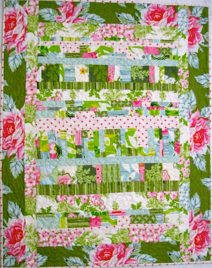 Stripey scrap quilt