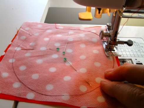 Pin and sew all the way around the circle