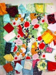 Collecting fabrics for the Pagoda and Peonies Quilt