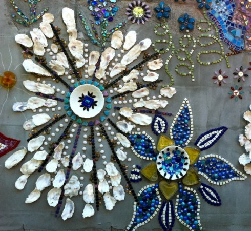 Mosaic Wall - Oyster shells and beads
