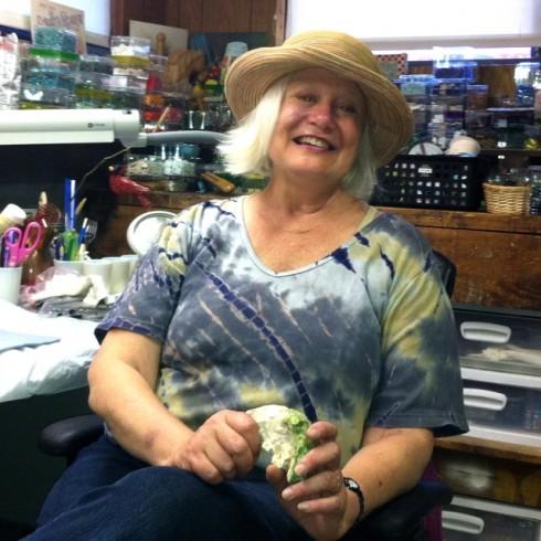 Sue in her studio