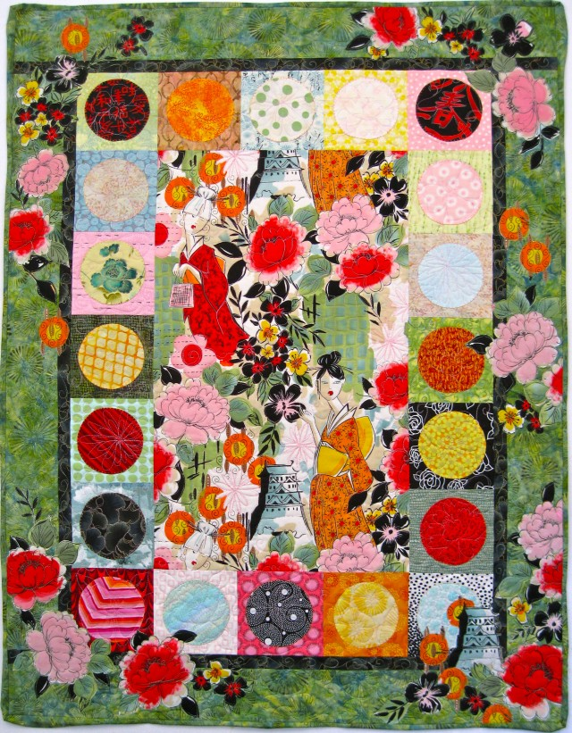 Pagoda and Peonies Quilt by Alethea Ballard