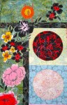 Pagoda and Peonies Quilt - upper left corner detail