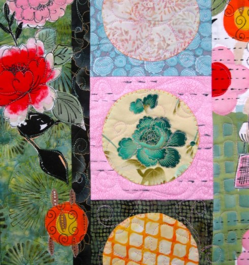 Pagoda and Peonies Quilt - middle left detail