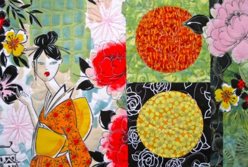 Pagoda and Peonies Quilt - middle right detail