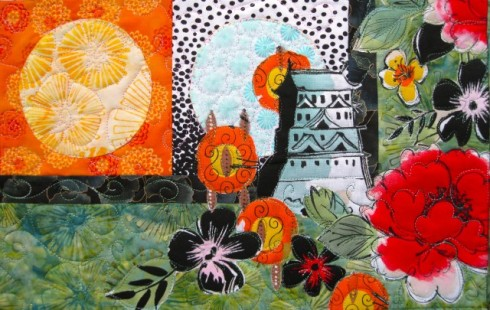 Pagoda and Peonies Quilt - lower right corner detail 2