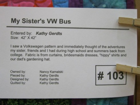 The card for the VW bus quilt
