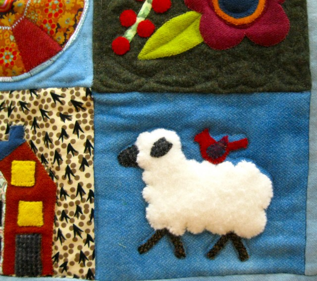 Folk Art Applique quilt - sheep detail