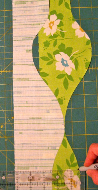 use ruler to mark opposite seams