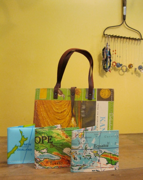 Purses and wallets - reinvented books and maps - from Mugwump