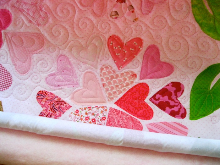 Hearts quilting detail