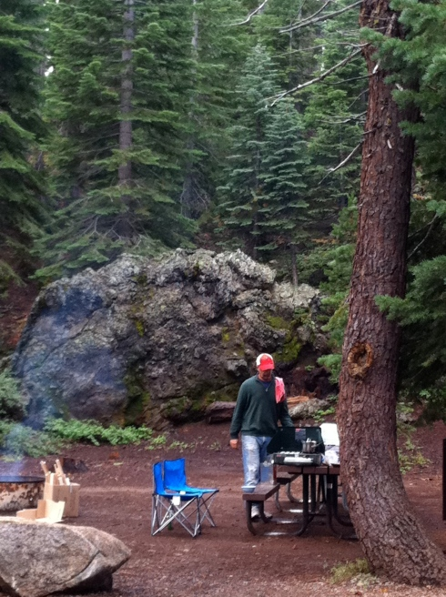 Camping in the rain with my husband