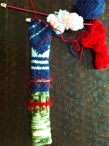 the humble beginnings of my yarn bomb