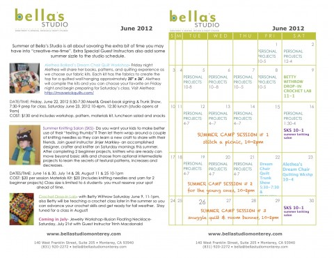 Bella's Studio June Calendar