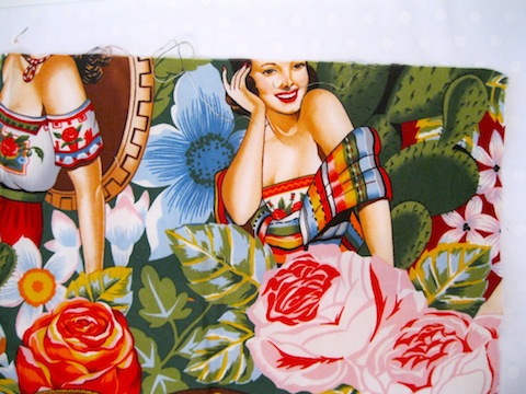 plain fabric ready with a blue flower