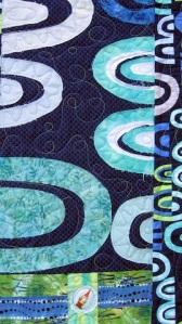 Blue Arches Quilt, gnome detail