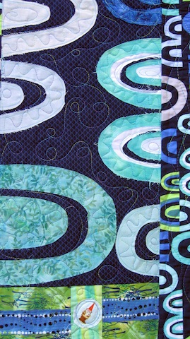 Blue Arches Quilt, gnome detail
