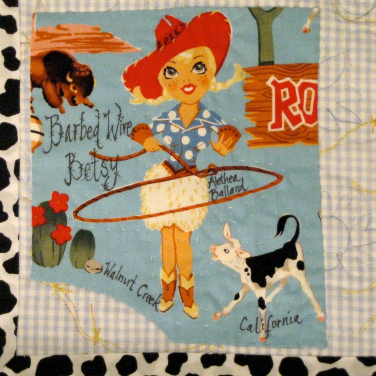 Quilt label for Barbed Wire Betsy quilt, by Alethea Ballard