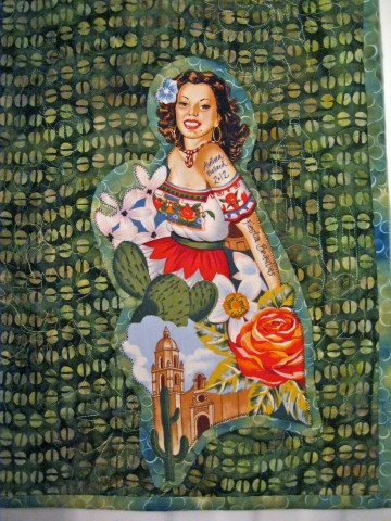 Fiesta Beauties quilt label all finished