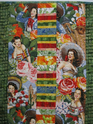 Close up of Fiesta Beauties quilt back