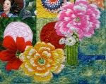 Detail of Fiesta Beauties quilt, by Alethea Ballard; lower right