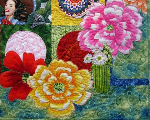 Detail of Fiesta Beauties quilt, by Alethea Ballard; lower right
