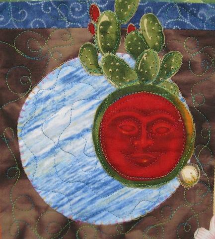 Detail of Fiesta Beauties quilt, by Alethea Ballard; upper center