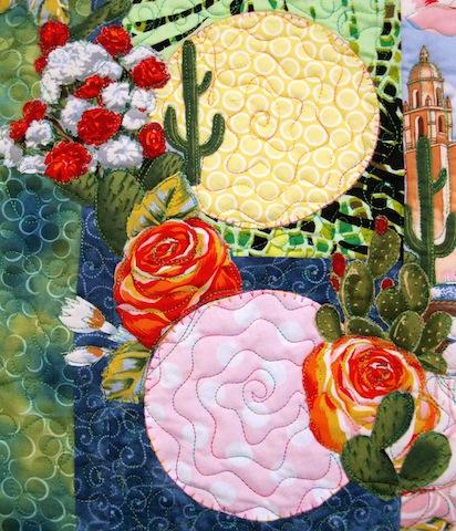 Detail of Fiesta Beauties quilt, by Alethea Ballard; left middle