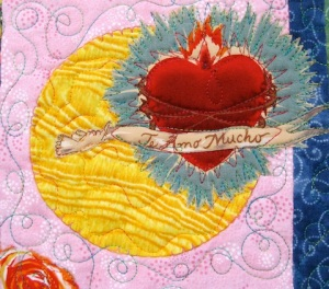Detail of Fiesta Beauties quilt, by Alethea Ballard; center/right