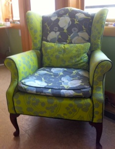 Upholstered chair at Jean Wells' house