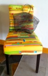 Chair upholstered with Jean Wells' quilt art