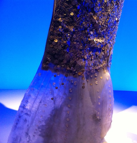 detail of beading on mermaid wedding dress