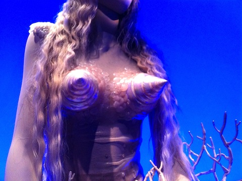 shell bustier on mermaid wedding dress