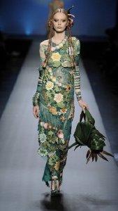 Green dress on runway