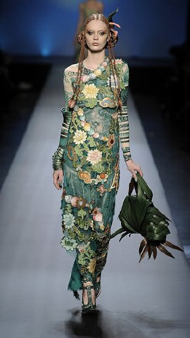 Green dress on runway