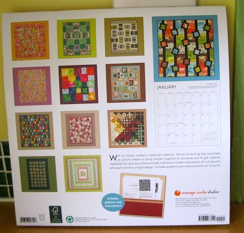 back view of The Art of the Quilt Calendar 2012 - Starring Alethea Ballard!
