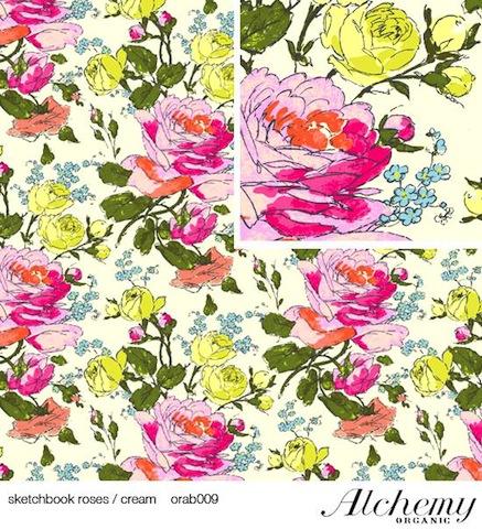 Amy Butler sketchbook roses cream organic