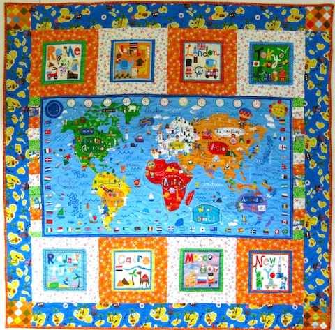 It's a Big World, Baby quilt made by Alethea Ballard, 2013