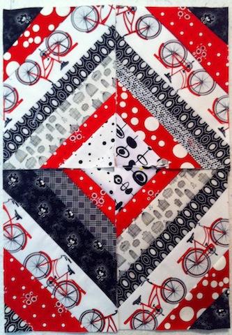 "Four String-pieced diagonal 8"" x 10"" rectangle"