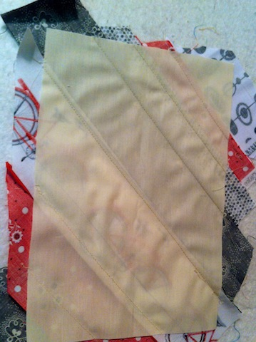 Back side of string-pieced rectangle block