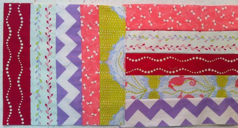 String-Pieced blocks: straight-sewn squares