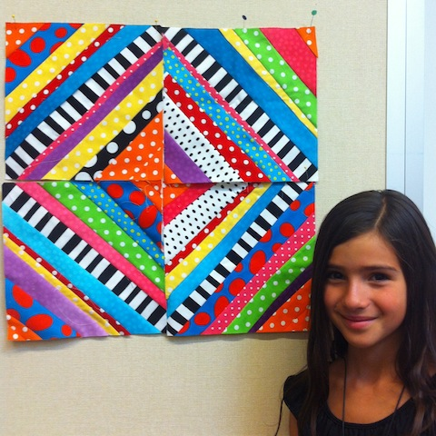 V. and her fabulous quilt blocks!