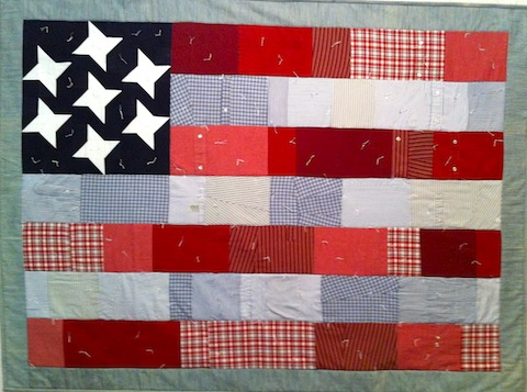 All-American Flag Quilt - men's shirt version, by Alethea Ballard; 2013