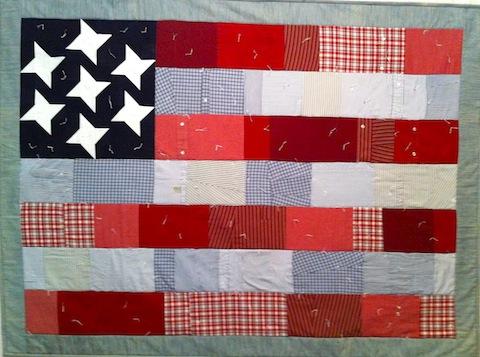 All-American Flag Quilt - men's shirt version, by Alethea Ballard; 2013