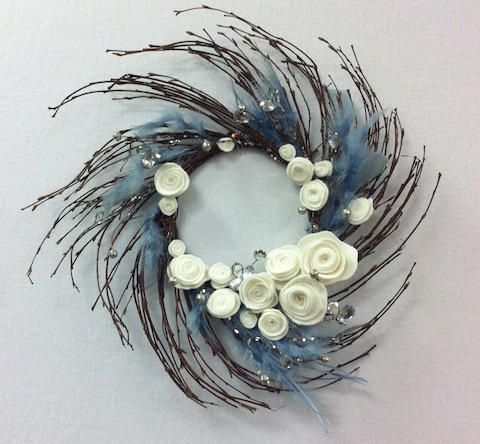 Silver, blue and feather wreath