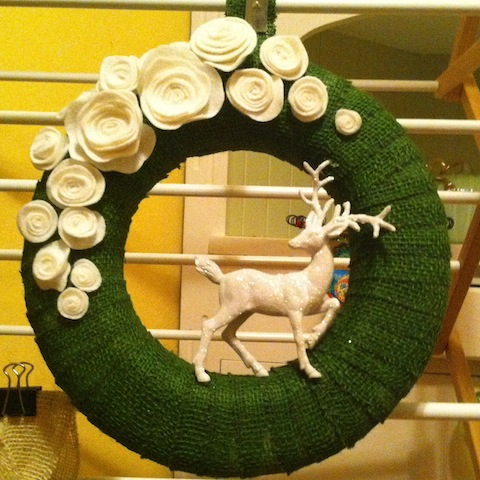 Green and white stag wreath