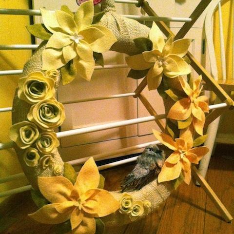 Burlap and pale poinsettia wreath