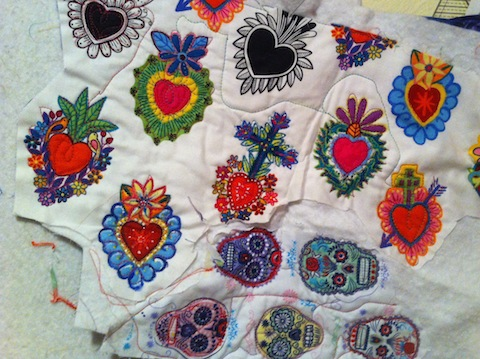 Skulls and Hearts - quilted and painted - more fabric from Alexander Henry