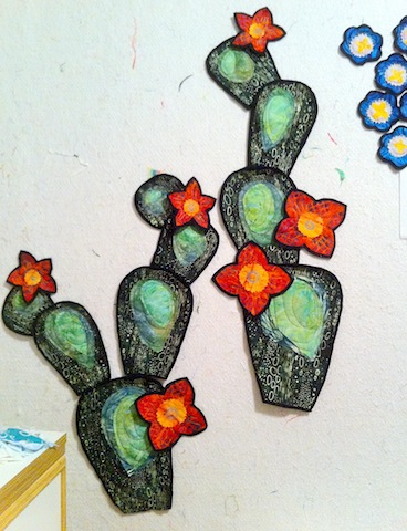 Orange floweres and the quilted nopal appliques