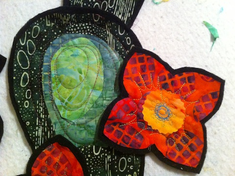 Orange flower and the quilted nopal appliques